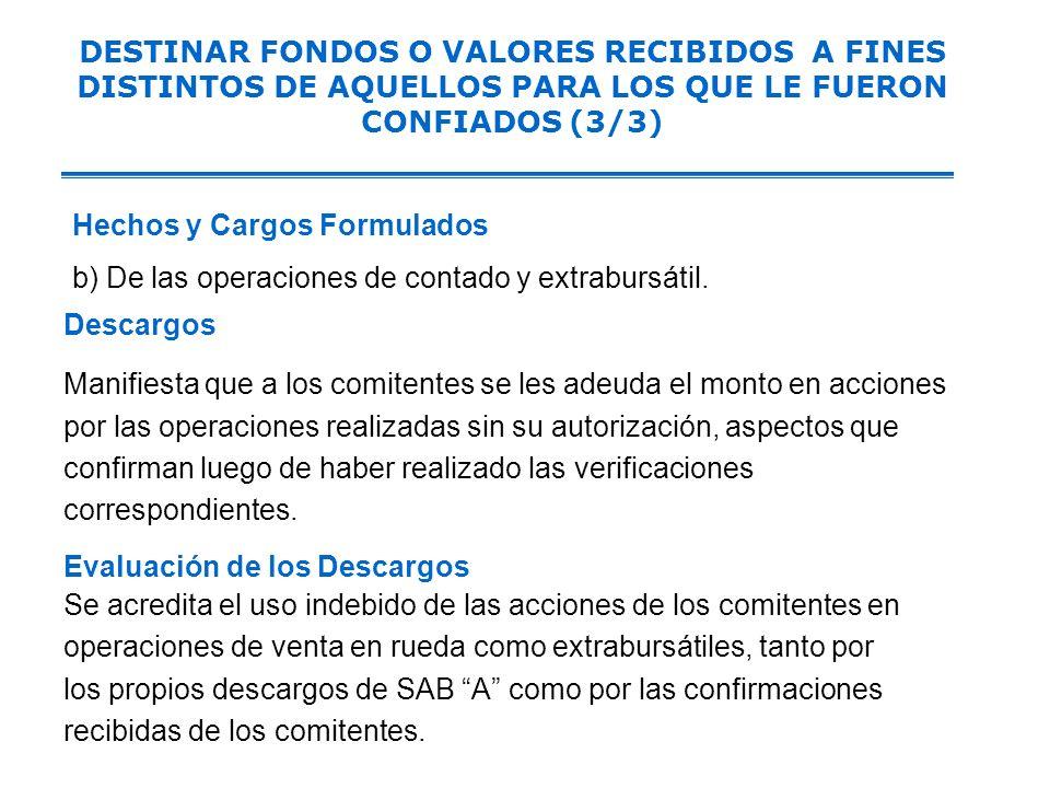 Intermediario A dispuso indebidamente de los valores de los comitentes y realizó a nombre de ellos operaciones de reporte sin contar con su consentimi