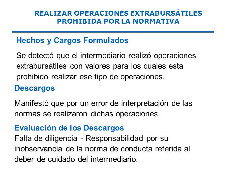 REALIZAR OPERACIONES EXTRABURSÁTILES PROHIBIDA POR LA NORMATIVA Hechos y Cargos Formulados Se detectó que el intermediario realizó operaciones extrabursátiles con valores para los cuales esta prohibido realizar ese tipo de operaciones.