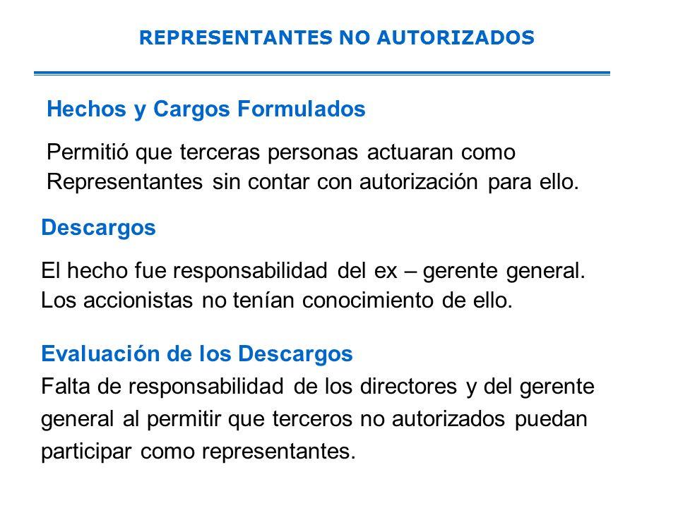 REPRESENTANTES NO AUTORIZADOS Hechos y Cargos Formulados Permitió que terceras personas actuaran como Representantes sin contar con autorización para ello.