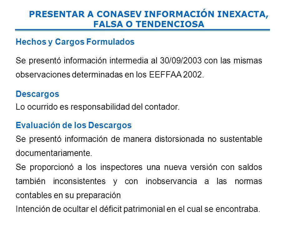 PRESENTAR A CONASEV INFORMACIÓN INEXACTA, FALSA O TENDENCIOSA Hechos y Cargos Formulados Se presentó información intermedia al 30/09/2003 con las mismas observaciones determinadas en los EEFFAA 2002.