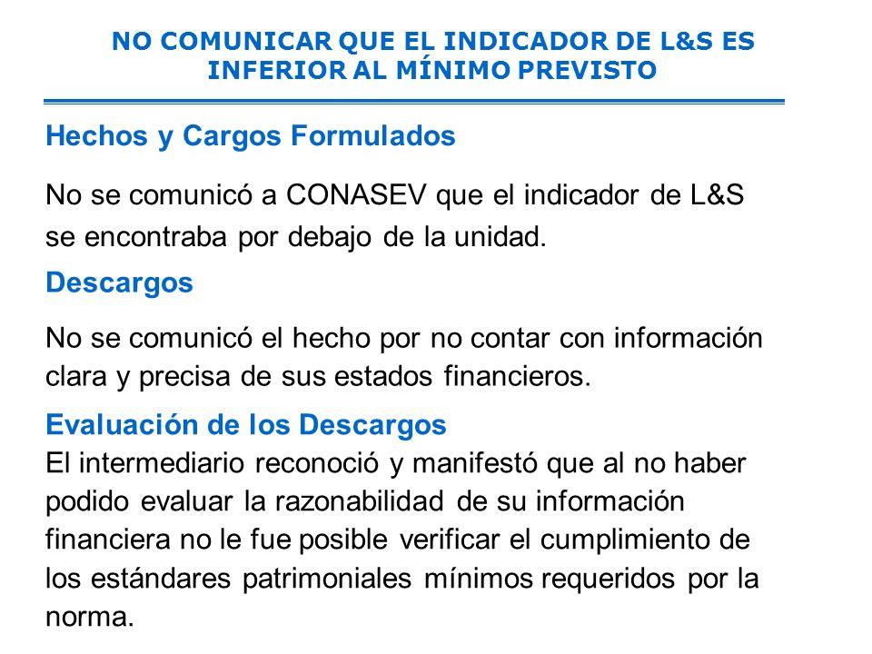 NO COMUNICAR QUE EL INDICADOR DE L&S ES INFERIOR AL MÍNIMO PREVISTO Hechos y Cargos Formulados No se comunicó a CONASEV que el indicador de L&S se encontraba por debajo de la unidad.