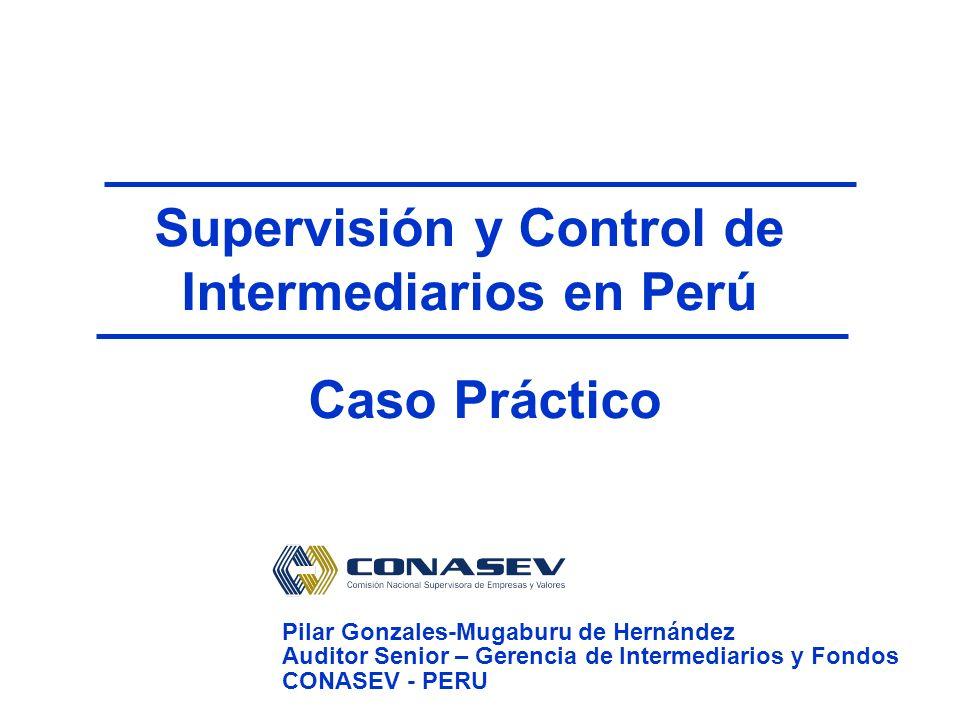 Supervisión y Control de Intermediarios en Perú Pilar Gonzales-Mugaburu de Hernández Auditor Senior – Gerencia de Intermediarios y Fondos CONASEV - PERU Caso Práctico