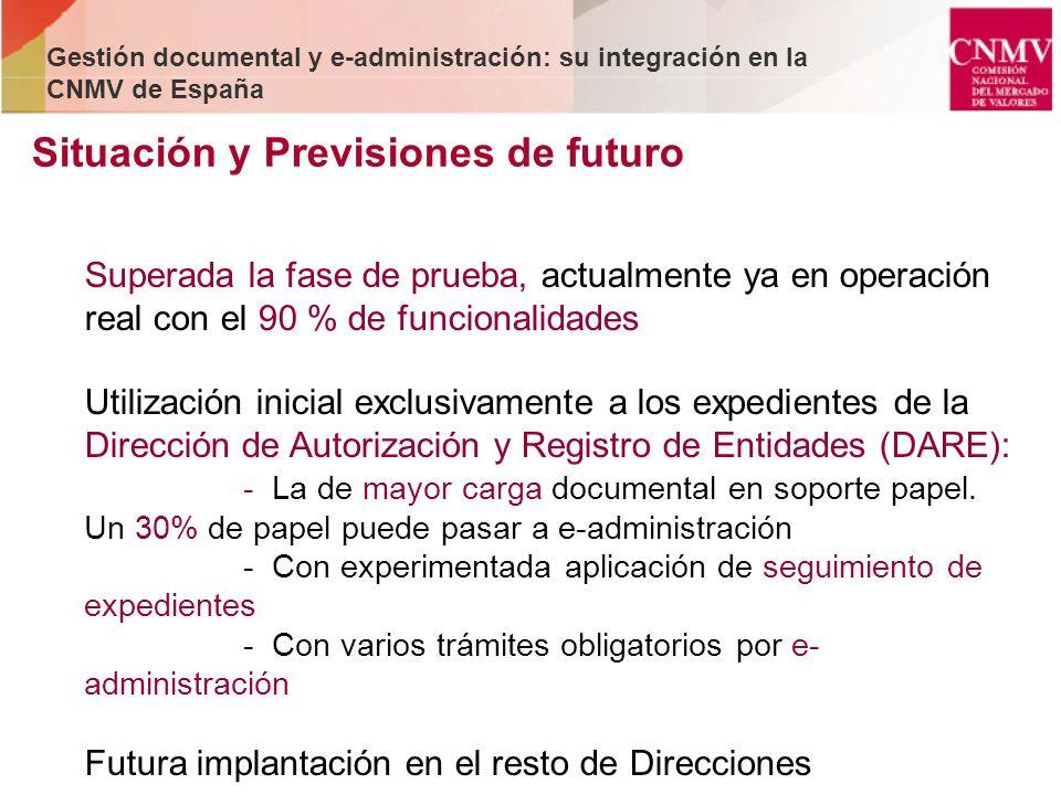 Situación y Previsiones de futuro Gestión documental y e-administración: su integración en la CNMV de España Superada la fase de prueba, actualmente y