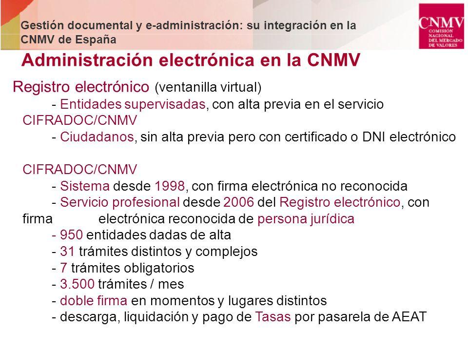 Registro electrónico (ventanilla virtual) - Entidades supervisadas, con alta previa en el servicio CIFRADOC/CNMV - Ciudadanos, sin alta previa pero co