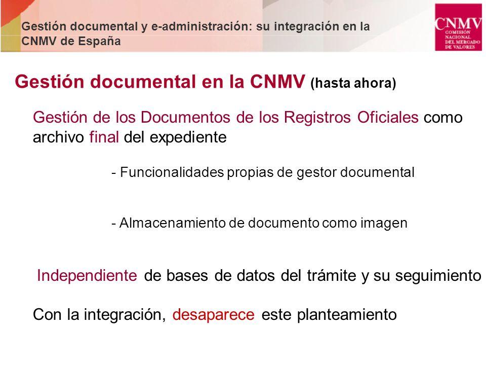 Gestión de los Documentos de los Registros Oficiales como archivo final del expediente - Funcionalidades propias de gestor documental - Almacenamiento