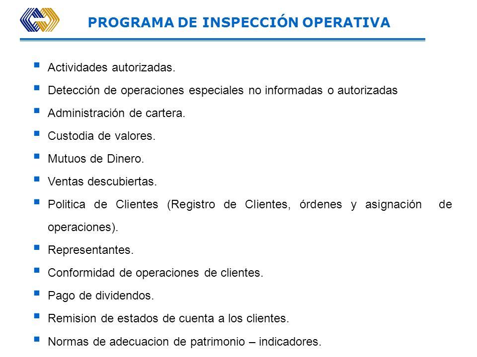 INSPECCIÓN OPERATIVA Comprende la revisión de operaciones de intermediación en el mercado de valores en las que participa el intermediario ya sea por