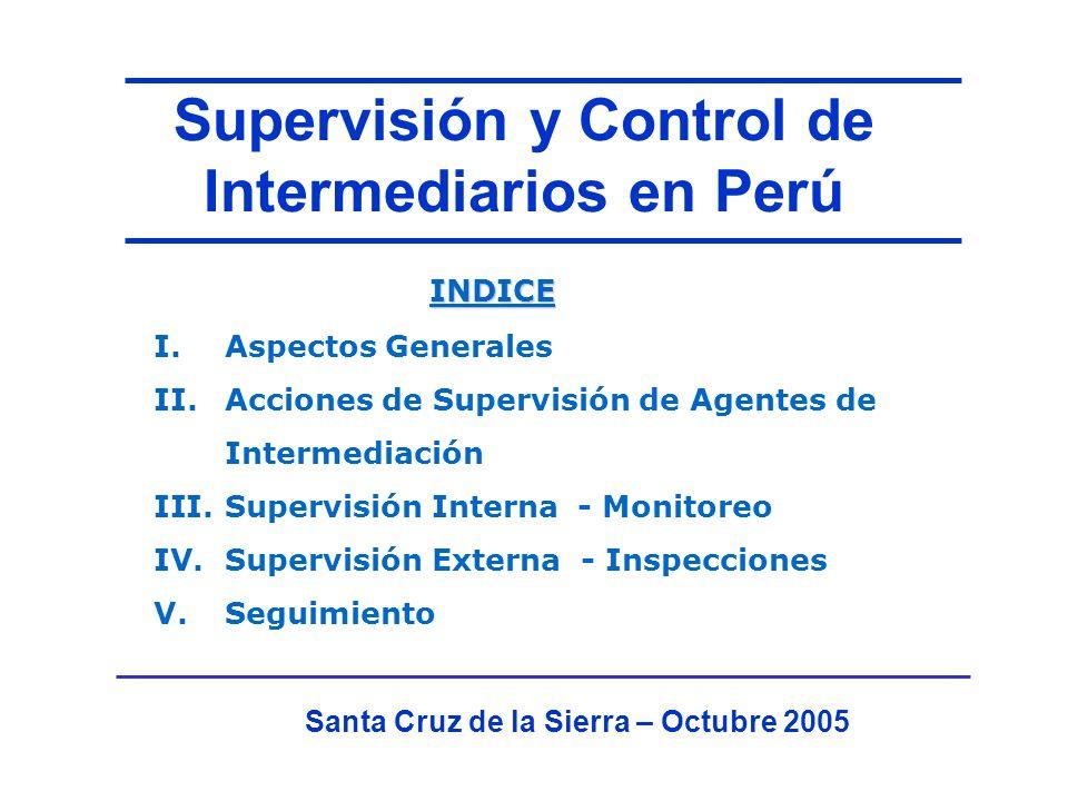 Supervisión y Control de Intermediarios en Perú Santa Cruz de la Sierra – Octubre 2005 I.Aspectos Generales II.Acciones de Supervisión de Agentes de Intermediación III.Supervisión Interna - Monitoreo IV.Supervisión Externa - Inspecciones V.Seguimiento INDICE