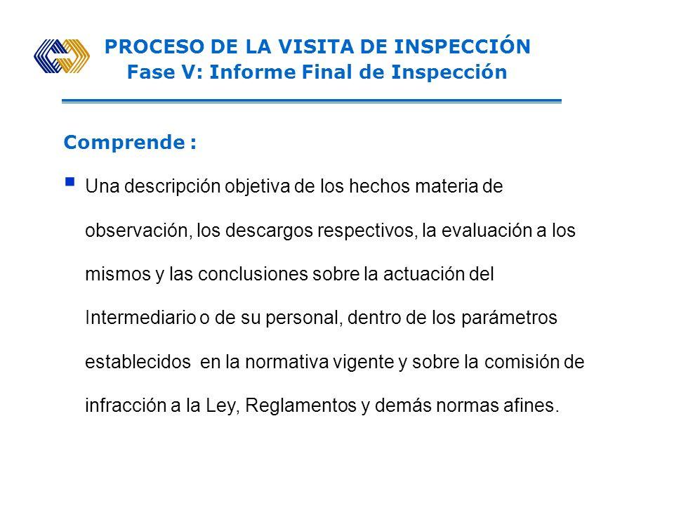 PROCESO DE LA VISITA DE INSPECCIÓN Fase IV: Evaluación de Descargos Comprende : Evaluar analíticamente las respuestas presentadas por el Intermediario