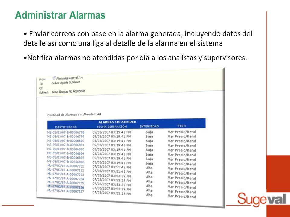 Administrar Alarmas Enviar correos con base en la alarma generada, incluyendo datos del detalle así como una liga al detalle de la alarma en el sistema Notifica alarmas no atendidas por día a los analistas y supervisores.