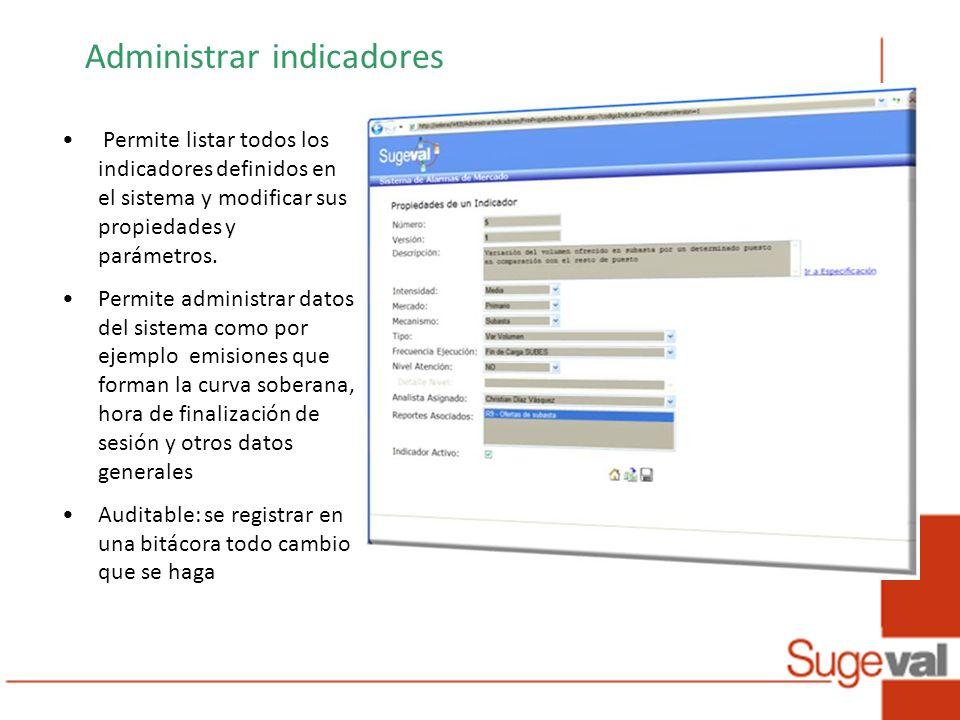 Administrar indicadores Permite listar todos los indicadores definidos en el sistema y modificar sus propiedades y parámetros.