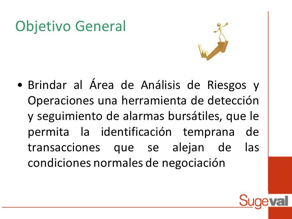 Objetivo General Brindar al Área de Análisis de Riesgos y Operaciones una herramienta de detección y seguimiento de alarmas bursátiles, que le permita la identificación temprana de transacciones que se alejan de las condiciones normales de negociación