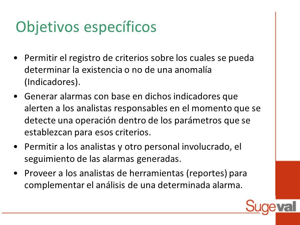 Objetivos específicos Permitir el registro de criterios sobre los cuales se pueda determinar la existencia o no de una anomalía (Indicadores).