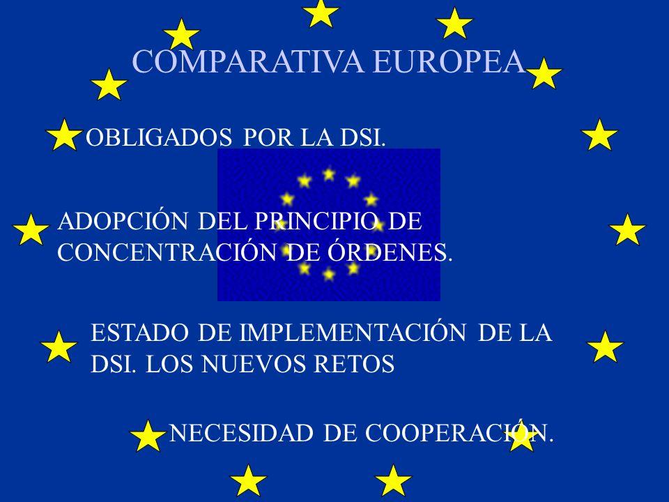 COMPARATIVA EUROPEA OBLIGADOS POR LA DSI. NECESIDAD DE COOPERACIÓN. ADOPCIÓN DEL PRINCIPIO DE CONCENTRACIÓN DE ÓRDENES. ESTADO DE IMPLEMENTACIÓN DE LA