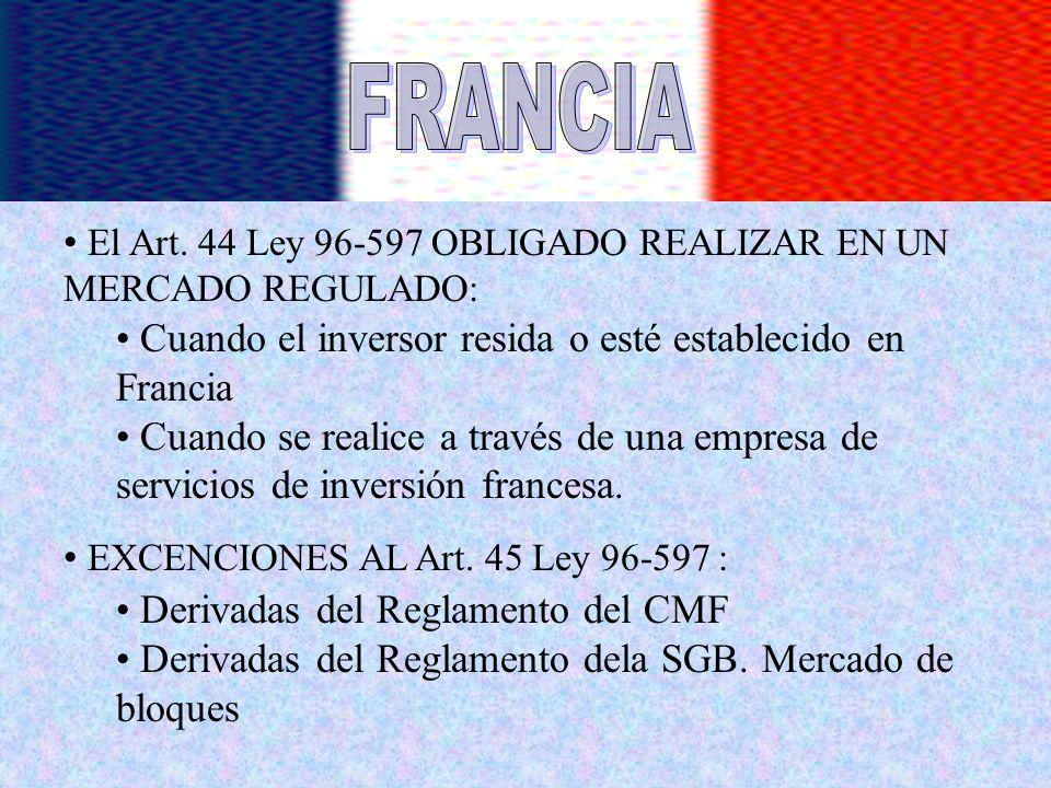 El Art. 44 Ley 96-597 OBLIGADO REALIZAR EN UN MERCADO REGULADO: Cuando el inversor resida o esté establecido en Francia Cuando se realice a través de