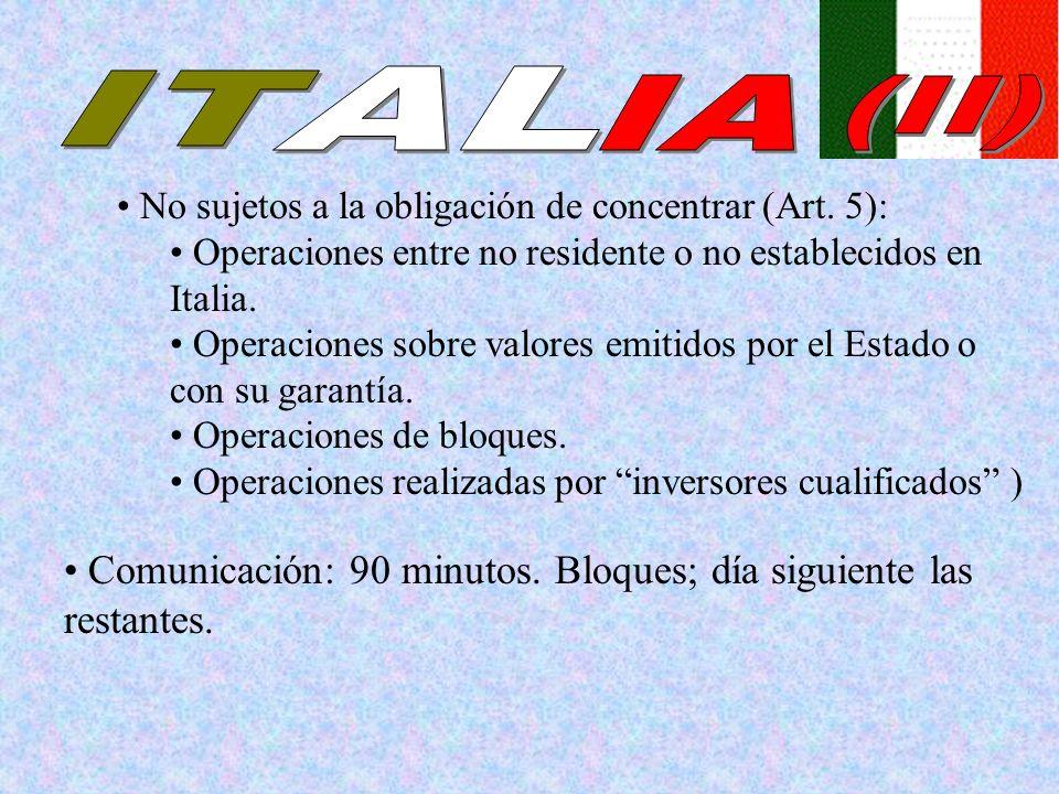 Comunicación: 90 minutos. Bloques; día siguiente las restantes. No sujetos a la obligación de concentrar (Art. 5): Operaciones entre no residente o no