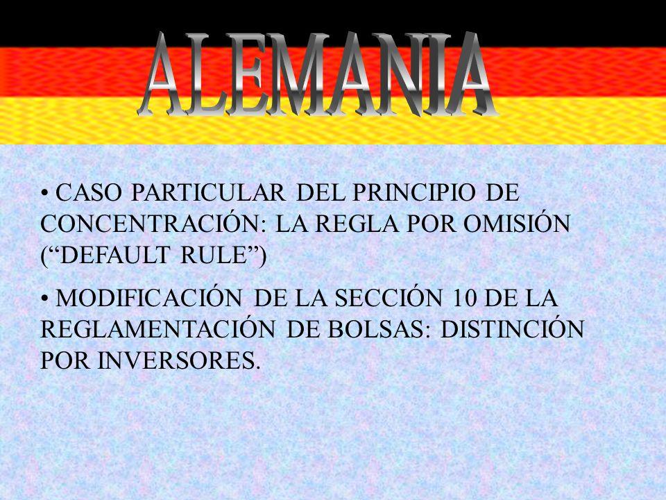CASO PARTICULAR DEL PRINCIPIO DE CONCENTRACIÓN: LA REGLA POR OMISIÓN (DEFAULT RULE) MODIFICACIÓN DE LA SECCIÓN 10 DE LA REGLAMENTACIÓN DE BOLSAS: DIST