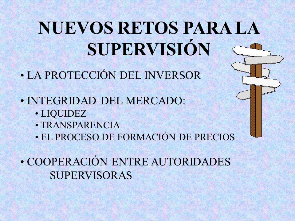 NUEVOS RETOS PARA LA SUPERVISIÓN LA PROTECCIÓN DEL INVERSOR INTEGRIDAD DEL MERCADO: LIQUIDEZ TRANSPARENCIA EL PROCESO DE FORMACIÓN DE PRECIOS COOPERAC
