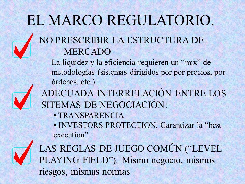 EL MARCO REGULATORIO. NO PRESCRIBIR LA ESTRUCTURA DE MERCADO La liquidez y la eficiencia requieren un mix de metodologías (sistemas dirigidos por por