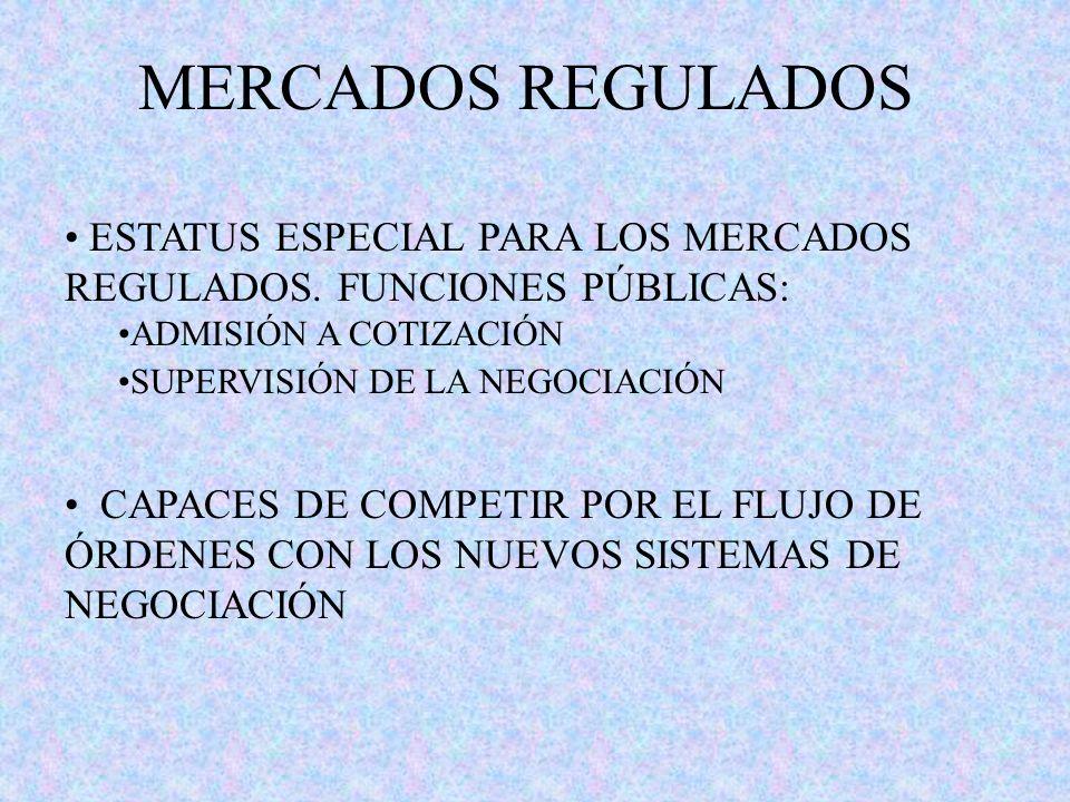 MERCADOS REGULADOS ESTATUS ESPECIAL PARA LOS MERCADOS REGULADOS. FUNCIONES PÚBLICAS: ADMISIÓN A COTIZACIÓN SUPERVISIÓN DE LA NEGOCIACIÓN CAPACES DE CO