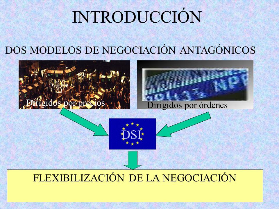 DOS MODELOS DE NEGOCIACIÓN ANTAGÓNICOS FLEXIBILIZACIÓN DE LA NEGOCIACIÓN Dirigidos por precios Dirigidos por órdenes INTRODUCCIÓN DSI