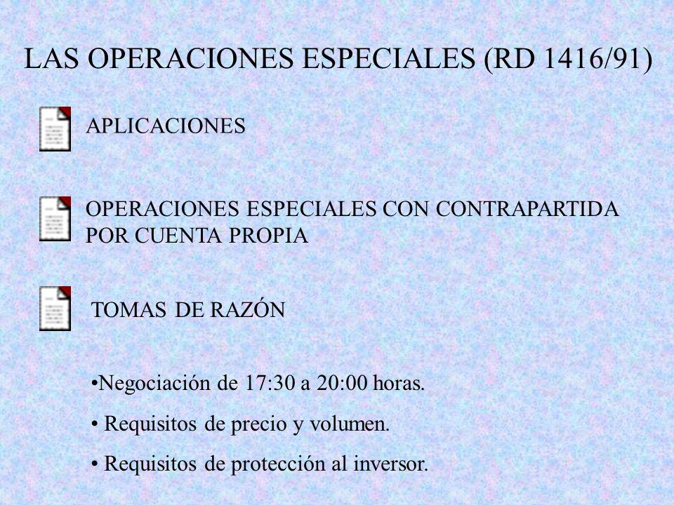 LAS OPERACIONES ESPECIALES (RD 1416/91) APLICACIONES OPERACIONES ESPECIALES CON CONTRAPARTIDA POR CUENTA PROPIA TOMAS DE RAZÓN Negociación de 17:30 a