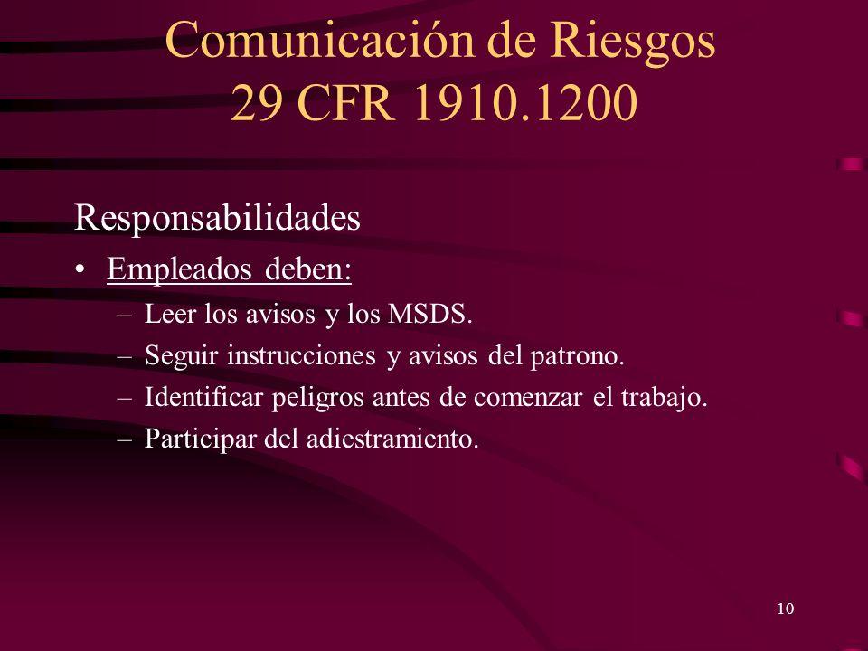 Comunicación de Riesgos 29 CFR 1910.1200 10 Responsabilidades Empleados deben: –Leer los avisos y los MSDS. –Seguir instrucciones y avisos del patrono