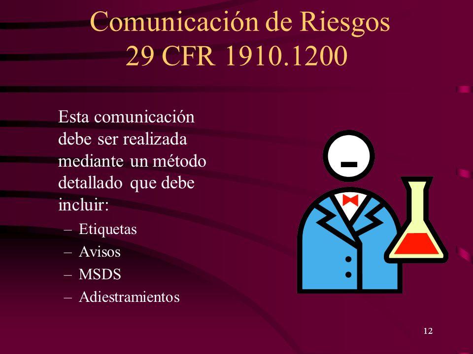 Comunicación de Riesgos 29 CFR 1910.1200 12 Esta comunicación debe ser realizada mediante un método detallado que debe incluir: –Etiquetas –Avisos –MS