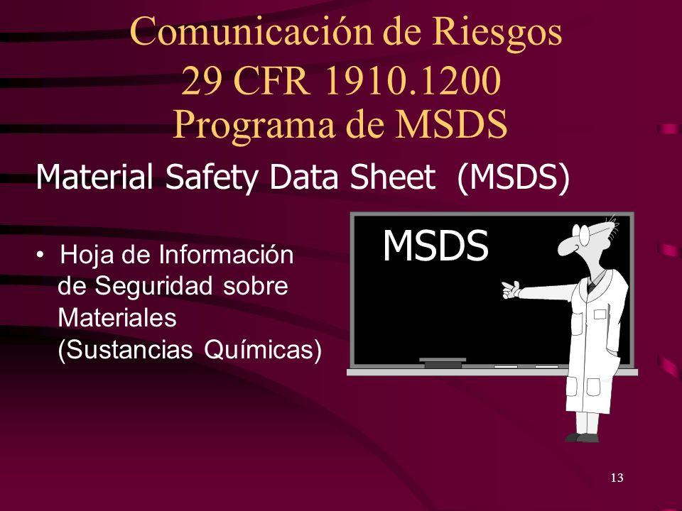 Comunicación de Riesgos 29 CFR 1910.1200 13 Material Safety Data Sheet (MSDS) Hoja de Información de Seguridad sobre Materiales (Sustancias Químicas)