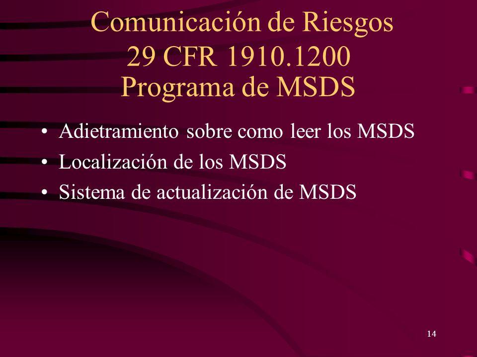 Comunicación de Riesgos 29 CFR 1910.1200 14 Programa de MSDS Adietramiento sobre como leer los MSDS Localización de los MSDS Sistema de actualización