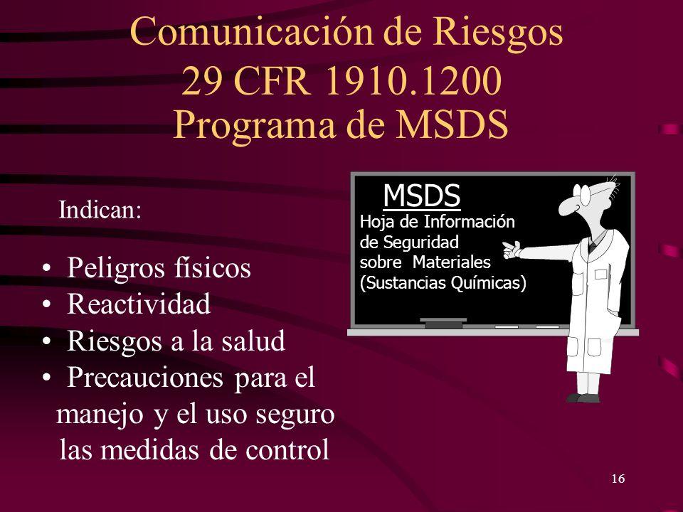 Comunicación de Riesgos 29 CFR 1910.1200 16 Indican: Peligros físicos Reactividad Riesgos a la salud Precauciones para el manejo y el uso seguro las m