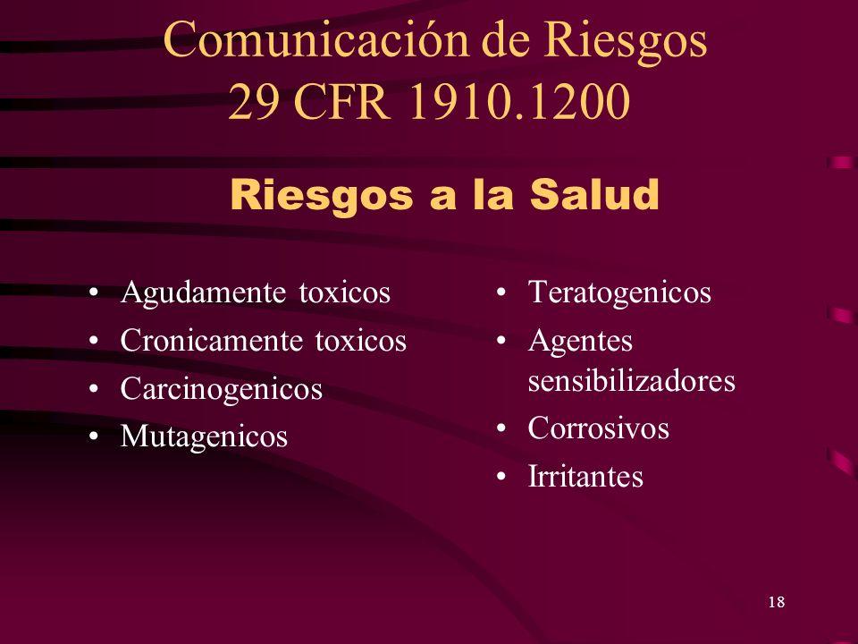 Comunicación de Riesgos 29 CFR 1910.1200 18 Agudamente toxicos Cronicamente toxicos Carcinogenicos Mutagenicos Teratogenicos Agentes sensibilizadores
