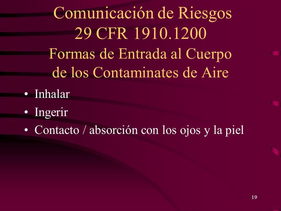 Comunicación de Riesgos 29 CFR 1910.1200 19 Formas de Entrada al Cuerpo de los Contaminates de Aire Inhalar Ingerir Contacto / absorción con los ojos