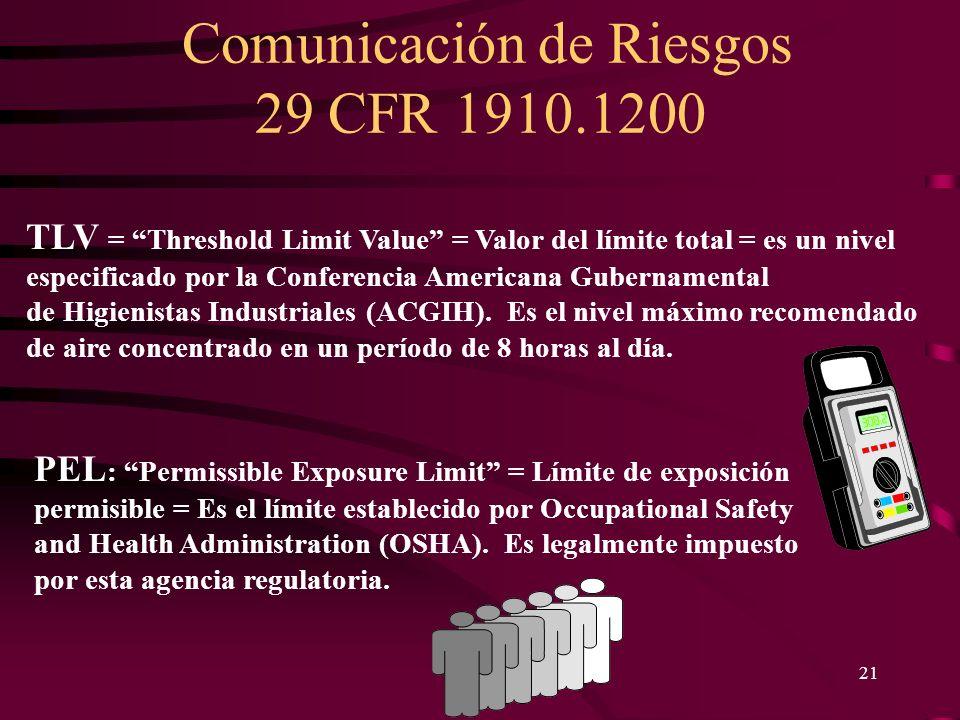 Comunicación de Riesgos 29 CFR 1910.1200 21 PEL : Permissible Exposure Limit = Límite de exposición permisible = Es el límite establecido por Occupati