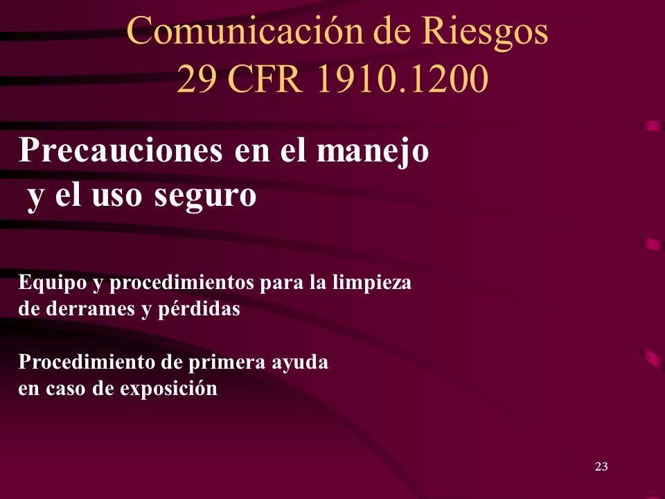 Comunicación de Riesgos 29 CFR 1910.1200 23 Precauciones en el manejo y el uso seguro Equipo y procedimientos para la limpieza de derrames y pérdidas