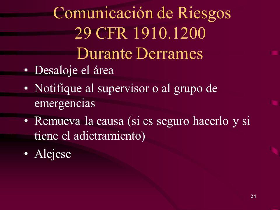 Comunicación de Riesgos 29 CFR 1910.1200 24 Durante Derrames Desaloje el área Notifique al supervisor o al grupo de emergencias Remueva la causa (si e