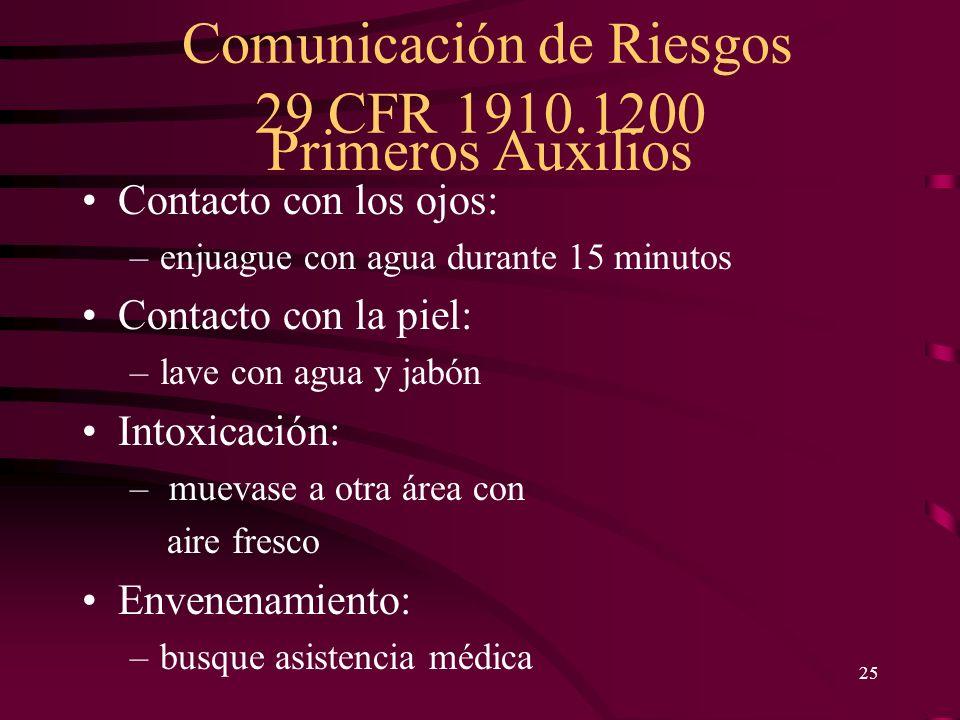 Comunicación de Riesgos 29 CFR 1910.1200 25 Primeros Auxilios Contacto con los ojos: –enjuague con agua durante 15 minutos Contacto con la piel: –lave