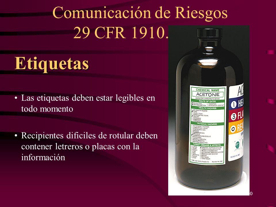 Comunicación de Riesgos 29 CFR 1910.1200 30 Las etiquetas deben estar legibles en todo momento Recipientes dificiles de rotular deben contener letrero