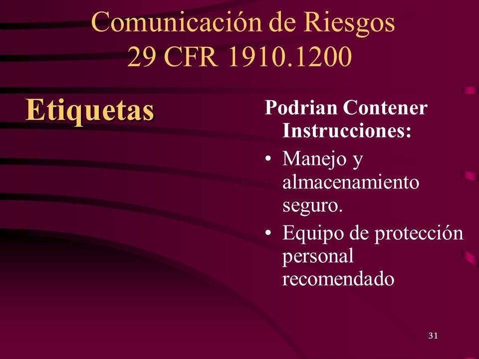 Comunicación de Riesgos 29 CFR 1910.1200 31 Podrian Contener Instrucciones: Manejo y almacenamiento seguro. Equipo de protección personal recomendado