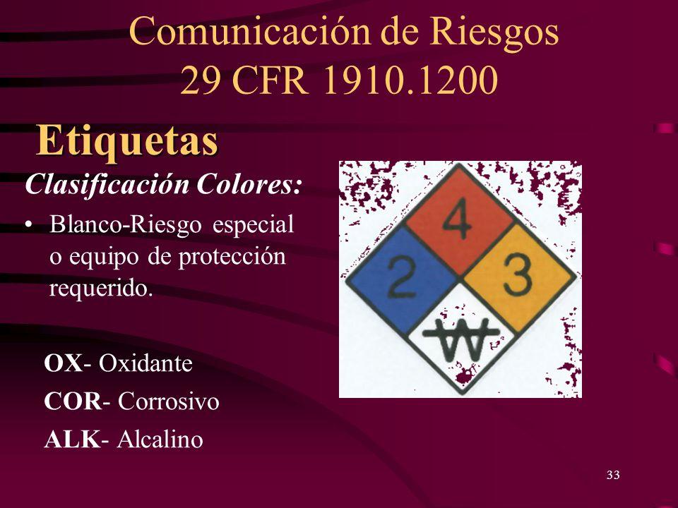Comunicación de Riesgos 29 CFR 1910.1200 33 Clasificación Colores: Blanco-Riesgo especial o equipo de protección requerido. OX- Oxidante COR- Corrosiv