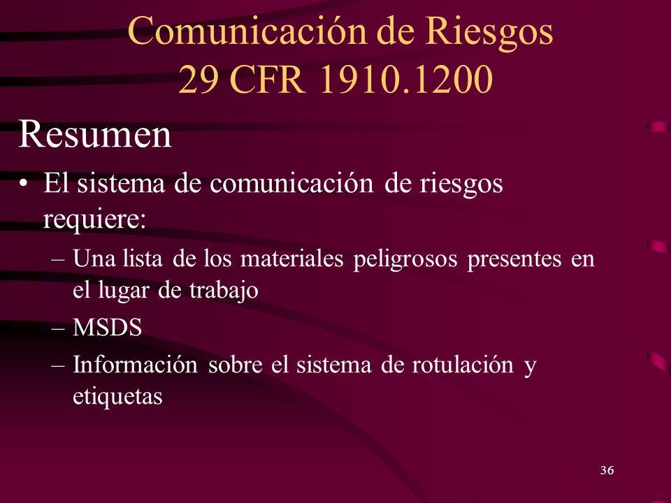 Comunicación de Riesgos 29 CFR 1910.1200 36 Resumen El sistema de comunicación de riesgos requiere: –Una lista de los materiales peligrosos presentes