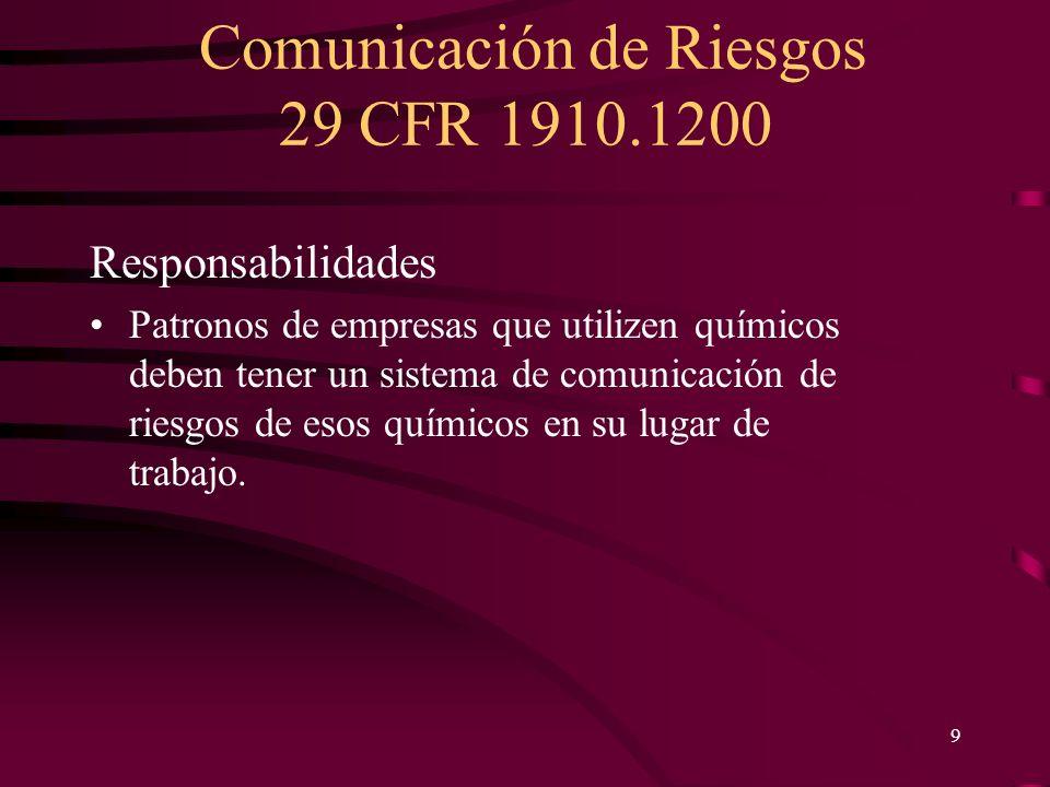 Comunicación de Riesgos 29 CFR 1910.1200 9 Responsabilidades Patronos de empresas que utilizen químicos deben tener un sistema de comunicación de ries