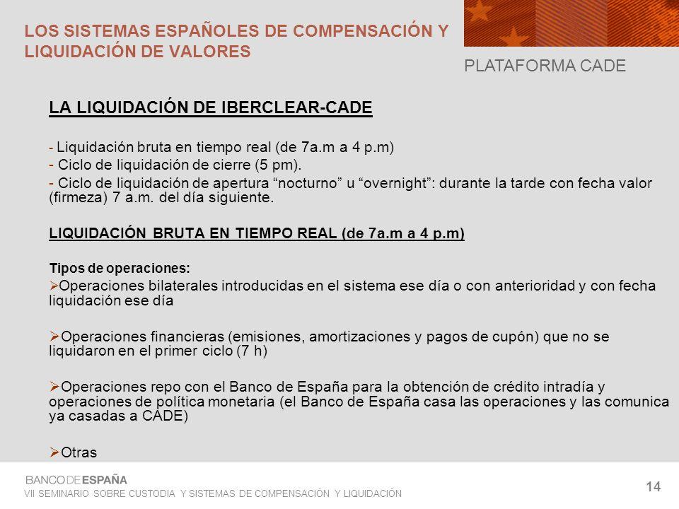 VII SEMINARIO SOBRE CUSTODIA Y SISTEMAS DE COMPENSACIÓN Y LIQUIDACIÓN 14 LA LIQUIDACIÓN DE IBERCLEAR-CADE - Liquidación bruta en tiempo real (de 7a.m