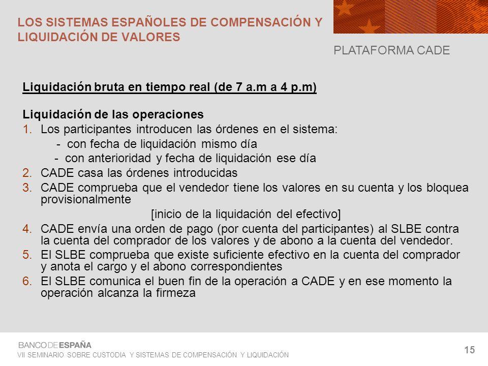 VII SEMINARIO SOBRE CUSTODIA Y SISTEMAS DE COMPENSACIÓN Y LIQUIDACIÓN 15 Liquidación bruta en tiempo real (de 7 a.m a 4 p.m) Liquidación de las operac