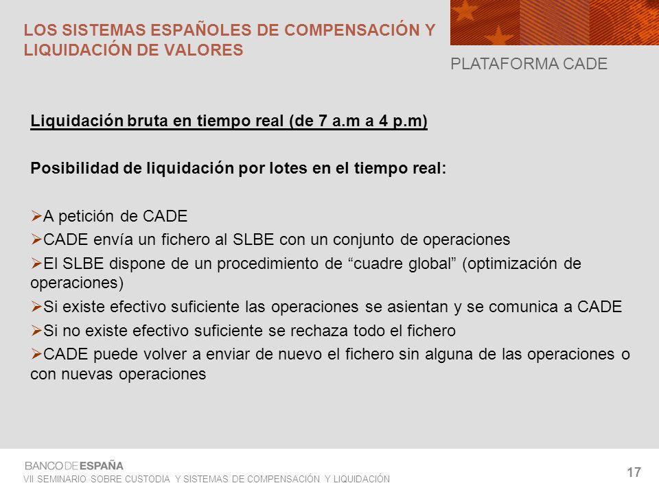 VII SEMINARIO SOBRE CUSTODIA Y SISTEMAS DE COMPENSACIÓN Y LIQUIDACIÓN 17 Liquidación bruta en tiempo real (de 7 a.m a 4 p.m) Posibilidad de liquidació