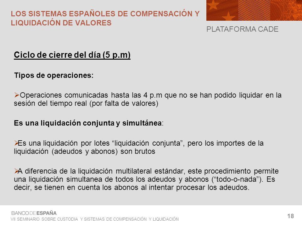VII SEMINARIO SOBRE CUSTODIA Y SISTEMAS DE COMPENSACIÓN Y LIQUIDACIÓN 18 Ciclo de cierre del día (5 p.m) Tipos de operaciones: Operaciones comunicadas