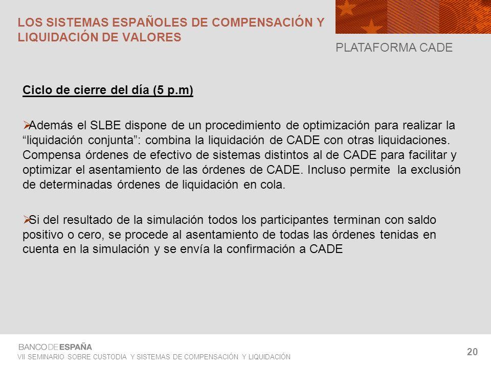 VII SEMINARIO SOBRE CUSTODIA Y SISTEMAS DE COMPENSACIÓN Y LIQUIDACIÓN 20 Ciclo de cierre del día (5 p.m) Además el SLBE dispone de un procedimiento de
