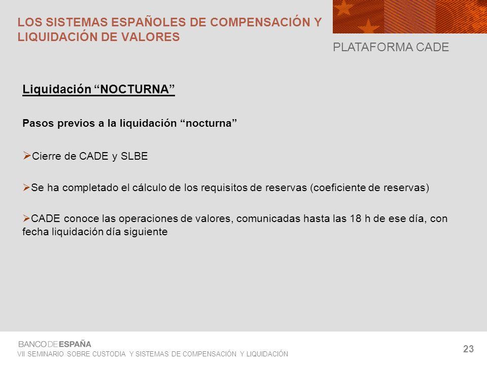 VII SEMINARIO SOBRE CUSTODIA Y SISTEMAS DE COMPENSACIÓN Y LIQUIDACIÓN 23 Liquidación NOCTURNA Pasos previos a la liquidación nocturna Cierre de CADE y