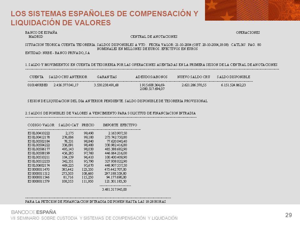 VII SEMINARIO SOBRE CUSTODIA Y SISTEMAS DE COMPENSACIÓN Y LIQUIDACIÓN 29 LOS SISTEMAS ESPAÑOLES DE COMPENSACIÓN Y LIQUIDACIÓN DE VALORES