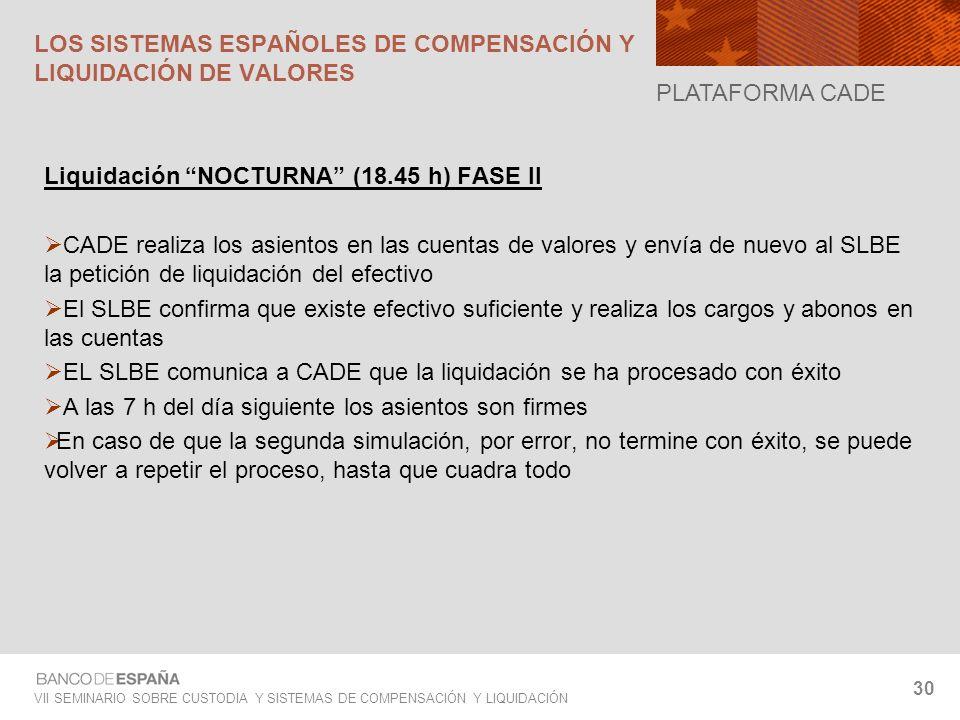 VII SEMINARIO SOBRE CUSTODIA Y SISTEMAS DE COMPENSACIÓN Y LIQUIDACIÓN 30 Liquidación NOCTURNA (18.45 h) FASE II CADE realiza los asientos en las cuent