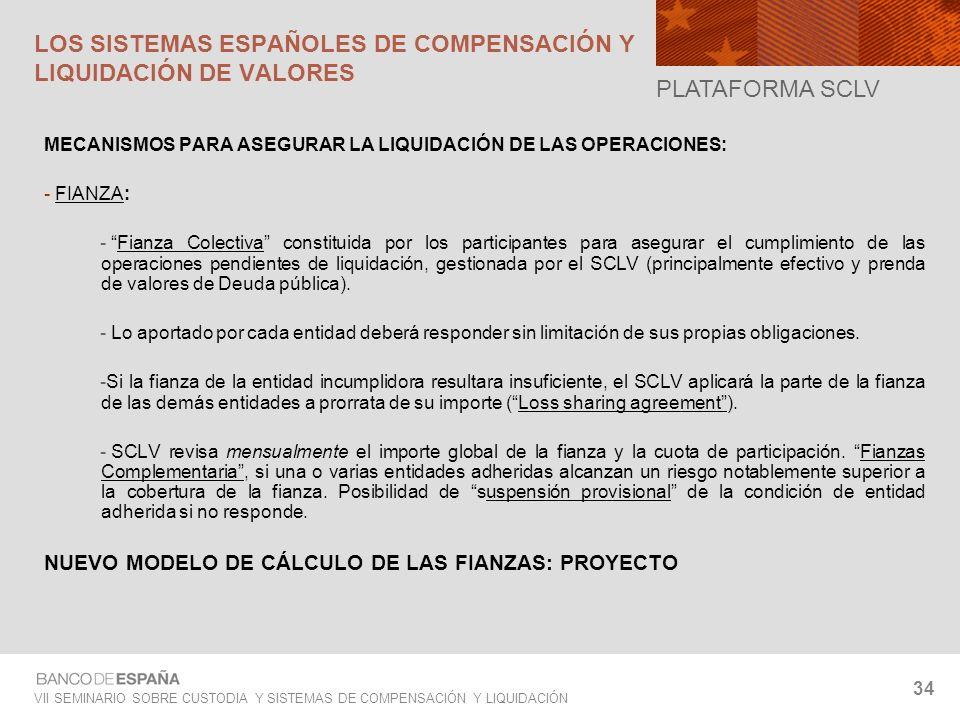 VII SEMINARIO SOBRE CUSTODIA Y SISTEMAS DE COMPENSACIÓN Y LIQUIDACIÓN 34 MECANISMOS PARA ASEGURAR LA LIQUIDACIÓN DE LAS OPERACIONES: - FIANZA: - Fianz